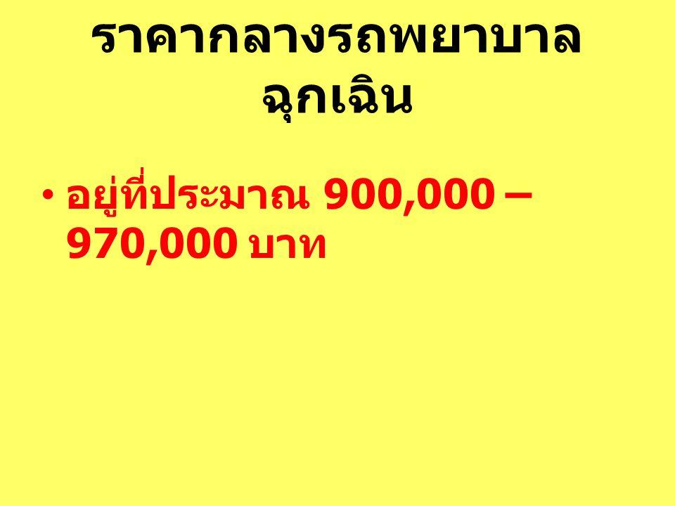 ราคากลางรถพยาบาล ฉุกเฉิน อยู่ที่ประมาณ 900,000 – 970,000 บาท