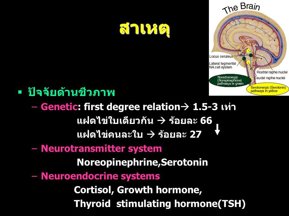 สาเหตุ  ปัจจัยด้านชีวภาพ –Genetic: first degree relation  1.5-3 เท่า แฝดไข่ใบเดียวกัน  ร้อยละ 66 แฝดไข่คนละใบ  ร้อยละ 27 –Neurotransmitter system