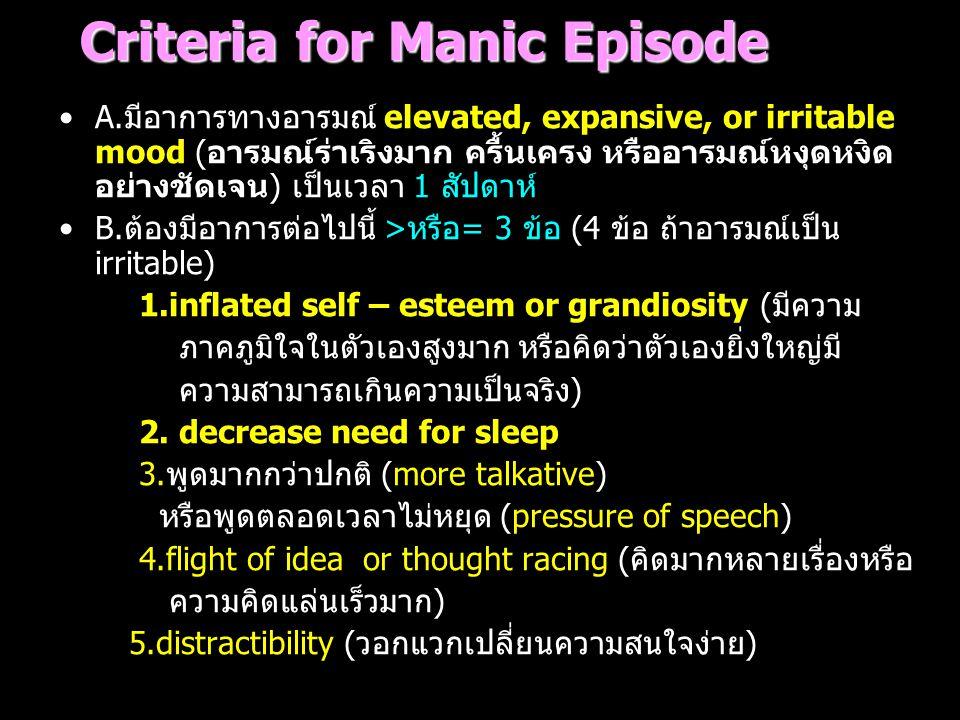Criteria for Manic Episode A.มีอาการทางอารมณ์ elevated, expansive, or irritable mood (อารมณ์ร่าเริงมาก ครื้นเครง หรืออารมณ์หงุดหงิด อย่างชัดเจน) เป็นเ