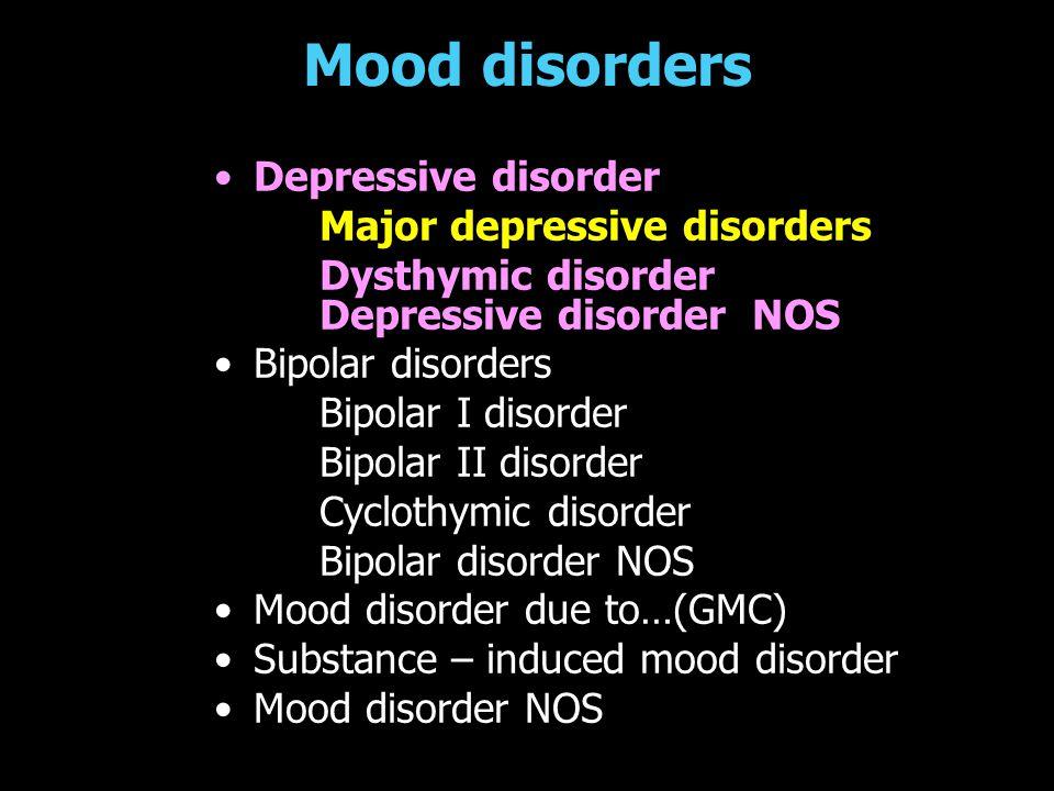Mood disorders Depressive disorder Major depressive disorders Dysthymic disorder Depressive disorder NOS Bipolar disorders Bipolar I disorder Bipolar