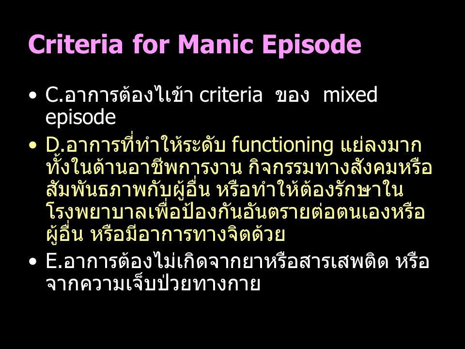 Criteria for Manic Episode C.อาการต้องไเข้า criteria ของ mixed episode D.อาการที่ทำให้ระดับ functioning แย่ลงมาก ทั้งในด้านอาชีพการงาน กิจกรรมทางสังคม