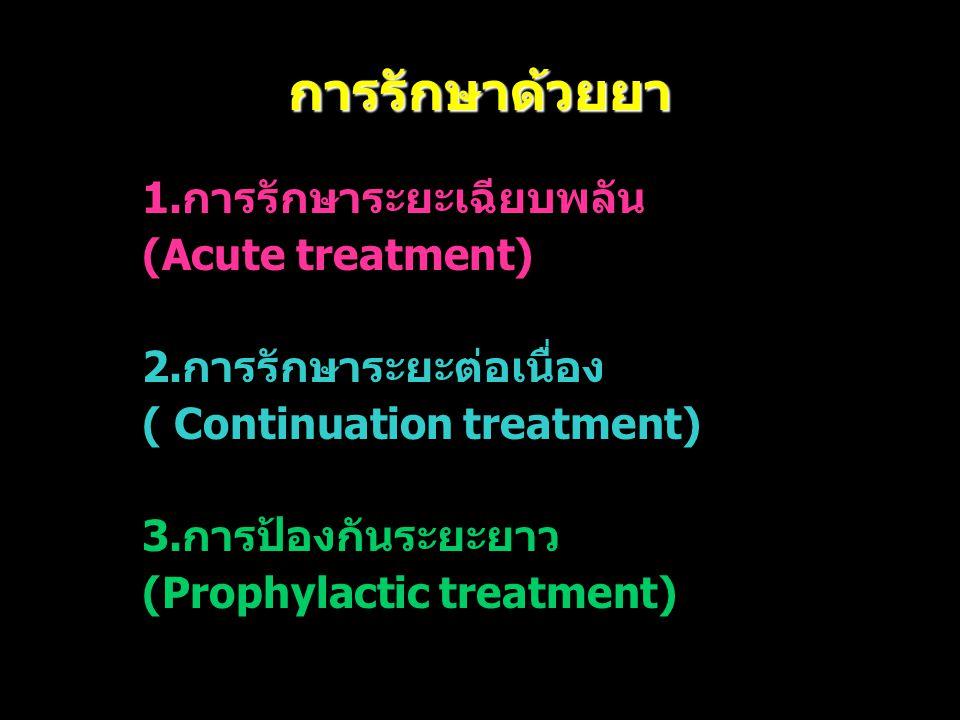 การรักษาด้วยยา 1.การรักษาระยะเฉียบพลัน (Acute treatment) 2.การรักษาระยะต่อเนื่อง ( Continuation treatment) 3.การป้องกันระยะยาว (Prophylactic treatment