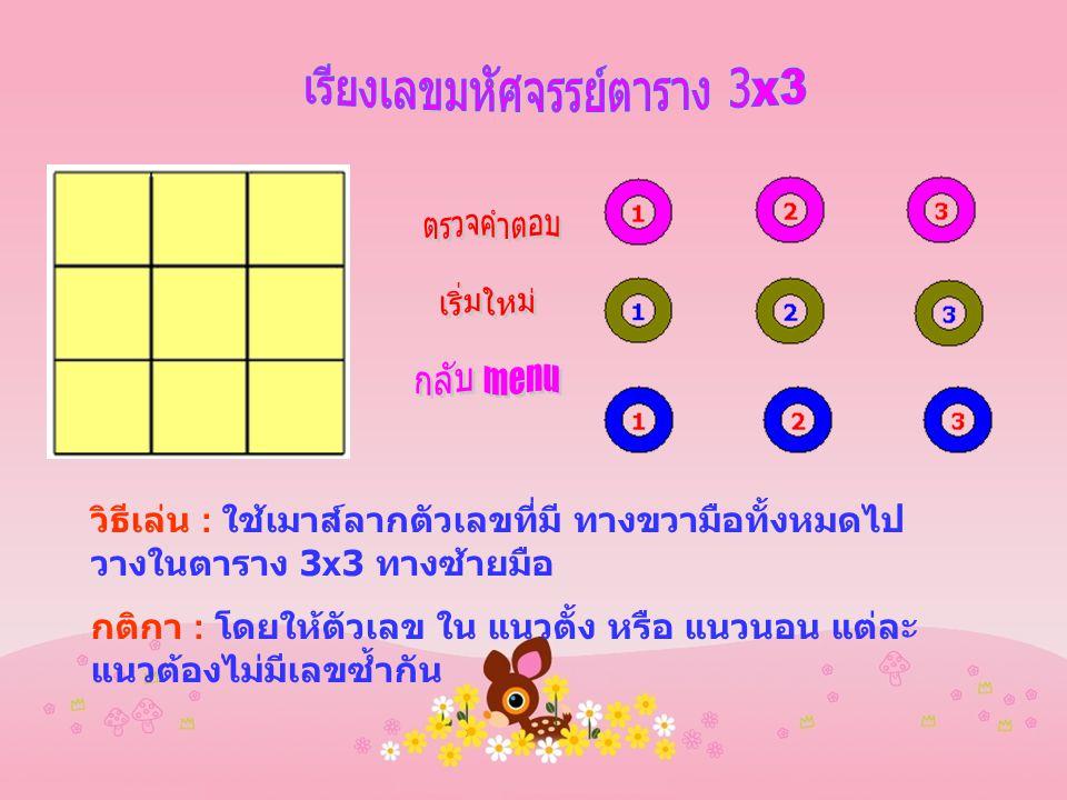 วิธีเล่น : ใช้เมาส์ลากตัวเลขที่มี ทางขวามือทั้งหมดไป วางในตาราง 3x3 ทางซ้ายมือ กติกา : โดยให้ตัวเลข ใน แนวตั้ง หรือ แนวนอน แต่ละ แนวต้องไม่มีเลขซ้ำกัน