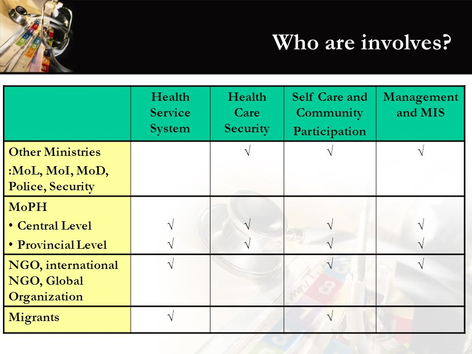 Who are involves? Health Service System Health Care Security Self Care and Community Participation Management and MIS Other Ministries :MoL, MoI, MoD,