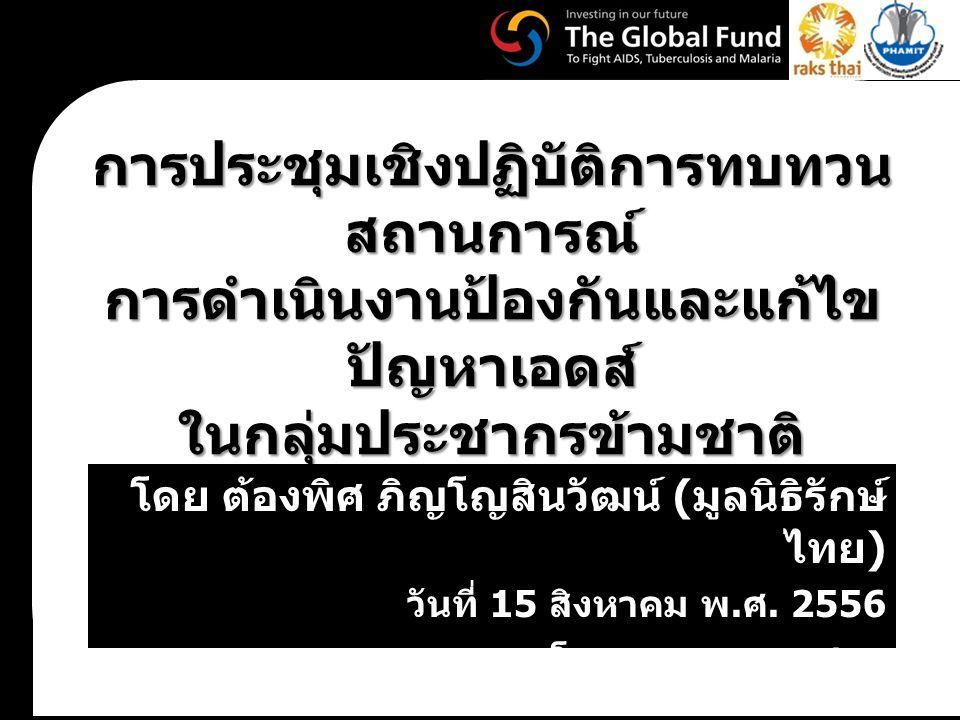 การประชุมเชิงปฏิบัติการทบทวน สถานการณ์ การดำเนินงานป้องกันและแก้ไข ปัญหาเอดส์ ในกลุ่มประชากรข้ามชาติ โดย ต้องพิศ ภิญโญสินวัฒน์ ( มูลนิธิรักษ์ ไทย ) วันที่ 15 สิงหาคม พ.
