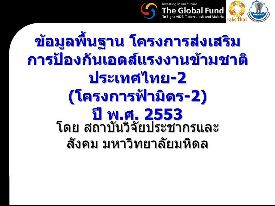 ข้อมูลพื้นฐาน โครงการส่งเสริม การป้องกันเอดส์แรงงานข้ามชาติ ประเทศไทย -2 ( โครงการฟ้ามิตร -2) ปี พ. ศ. 2553 โดย สถาบันวิจัยประชากรและ สังคม มหาวิทยาลั