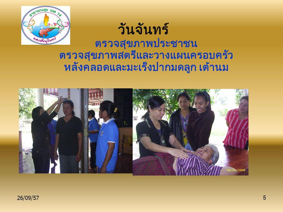 26/09/575 วันจันทร์ ตรวจสุขภาพประชาชน ตรวจสุขภาพสตรีและวางแผนครอบครัว หลังคลอดและมะเร็งปากมดลูก เต้านม