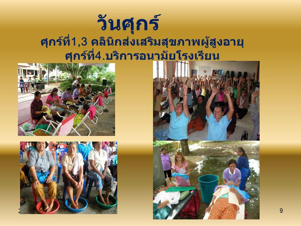 26/09/579 วันศุกร์ ศุกร์ที่1,3 คลินิกส่งเสริมสุขภาพผู้สูงอายุ ศุกร์ที่4.บริการอนามัยโรงเรียน