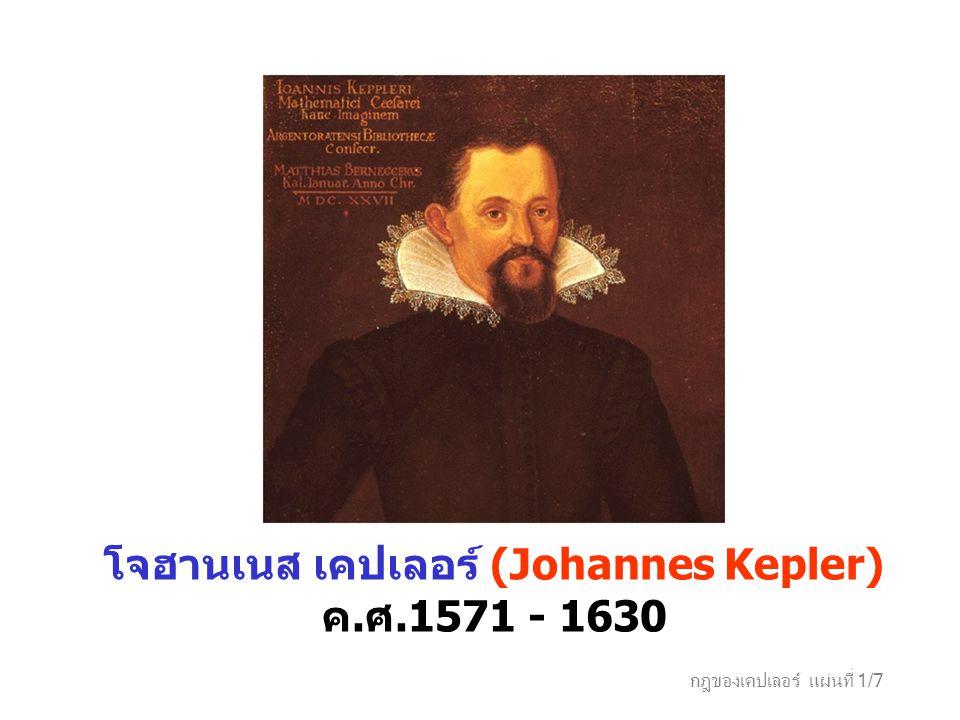 กฎของเคปเลอร์ แผ่นที่ 1/7 โจฮานเนส เคปเลอร์ (Johannes Kepler) ค. ศ.1571 - 1630
