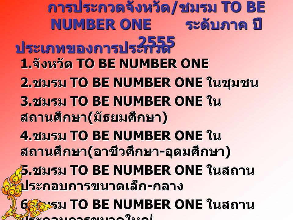 การประกวดจังหวัด / ชมรม TO BE NUMBER ONE ระดับภาค ปี 2555 ประเภทของการประกวด 1. จังหวัด TO BE NUMBER ONE 2. ชมรม TO BE NUMBER ONE ในชุมชน 3. ชมรม TO B