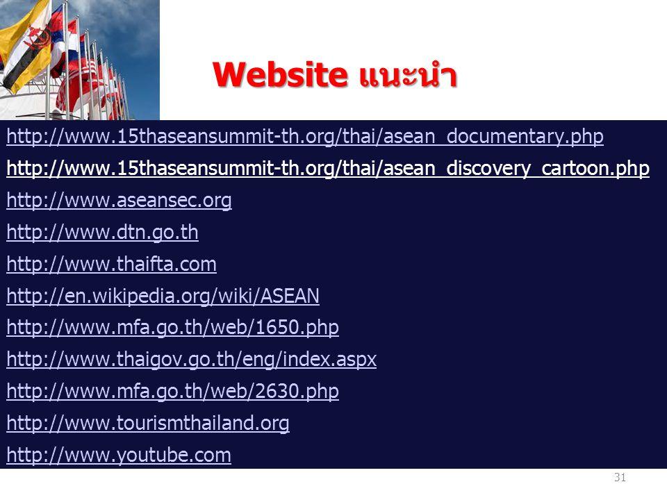 Website แนะนำ Website แนะนำ http://www.15thaseansummit-th.org/thai/asean_documentary.php http://www.15thaseansummit-th.org/thai/asean_discovery_cartoon.php http://www.aseansec.org http://www.dtn.go.th http://www.thaifta.com http://en.wikipedia.org/wiki/ASEAN http://www.mfa.go.th/web/1650.php http://www.thaigov.go.th/eng/index.aspx http://www.mfa.go.th/web/2630.php http://www.tourismthailand.org http://www.youtube.com 31
