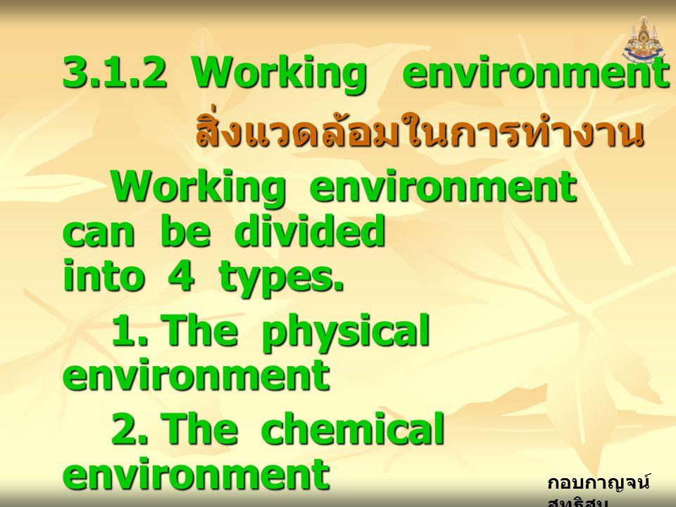 กอบกาญจน์ สุทธิสม 3.1.2 Working environment สิ่งแวดล้อมในการทำงาน สิ่งแวดล้อมในการทำงาน Working environment can be divided into 4 types. 1. The physic