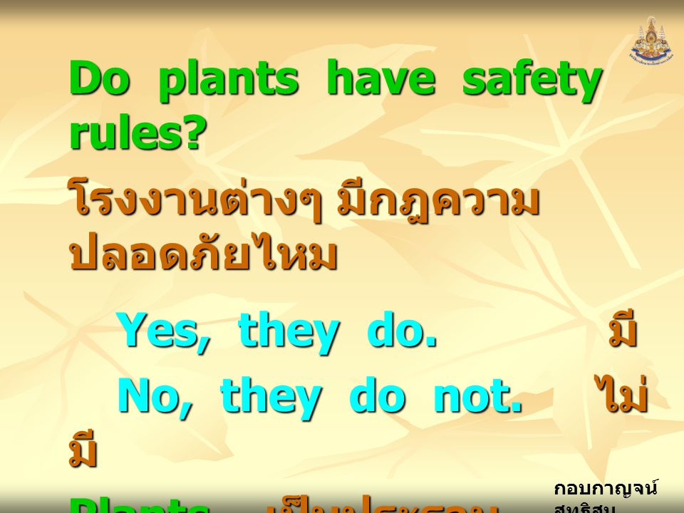 กอบกาญจน์ สุทธิสม Do plants have safety rules? โรงงานต่างๆ มีกฎความ ปลอดภัยไหม Yes, they do. มี No, they do not. ไม่ มี Plants เป็นประธาน ( พหูพจน์ )