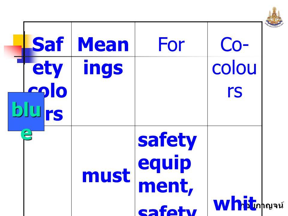 กอบกาญจน์ สุทธิสม Saf ety colo urs Mean ings ForCo- colou rs must safety equip ment, safety symbo ls whit e blu e