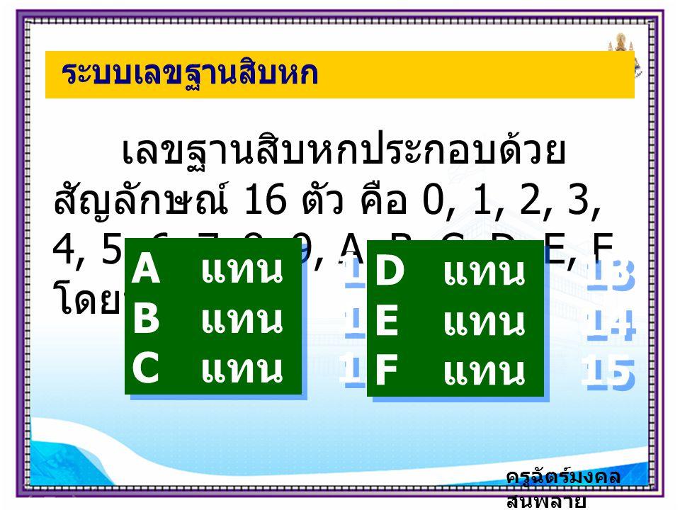 เลขฐานสิบหกประกอบด้วย สัญลักษณ์ 16 ตัว คือ 0, 1, 2, 3, 4, 5, 6, 7, 8, 9, A, B, C, D, E, F โดยที่ A แทน 10 B แทน 11 C แทน 12 A แทน 10 B แทน 11 C แทน 12