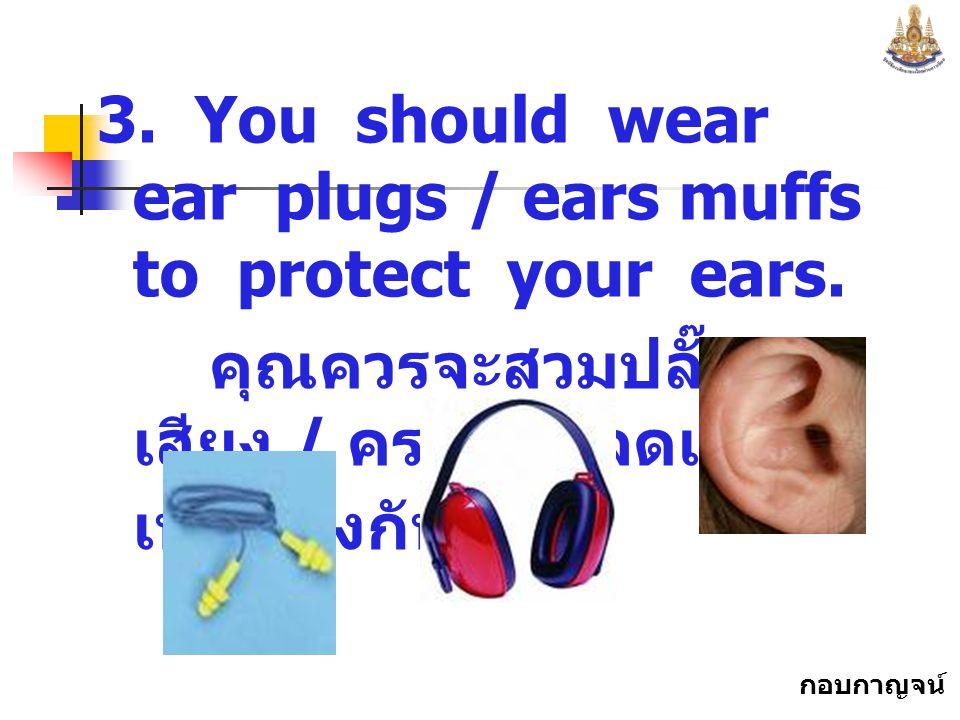 กอบกาญจน์ สุทธิสม 3.You should wear ear plugs / ears muffs to protect your ears.