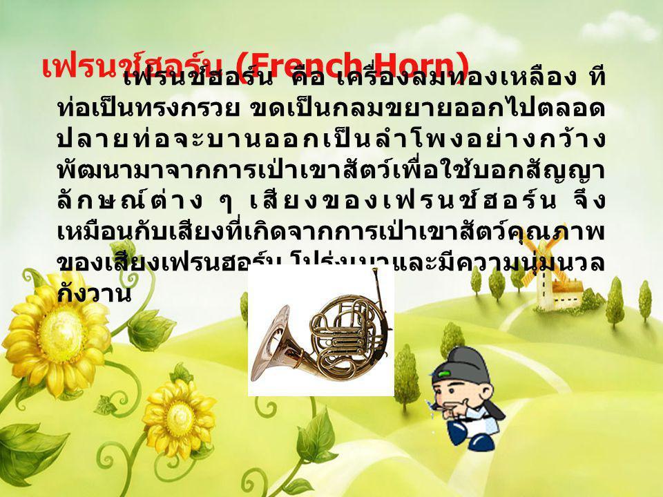 เฟรนช์ฮอร์น (French Horn) เฟรนช์ฮอร์น คือ เครื่องลมทองเหลือง ที ท่อเป็นทรงกรวย ขดเป็นกลมขยายออกไปตลอด ปลายท่อจะบานออกเป็นลำโพงอย่างกว้าง พัฒนามาจากการ