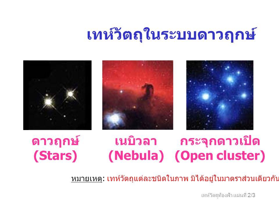 เทห์วัตถุท้องฟ้า แผ่นที่ 2/3 เทห์วัตถุในระบบดาวฤกษ์ ดาวฤกษ์ (Stars) เนบิวลา (Nebula) กระจุกดาวเปิด (Open cluster) หมายเหตุ : เทห์วัตถุแต่ละชนิดในภาพ ม