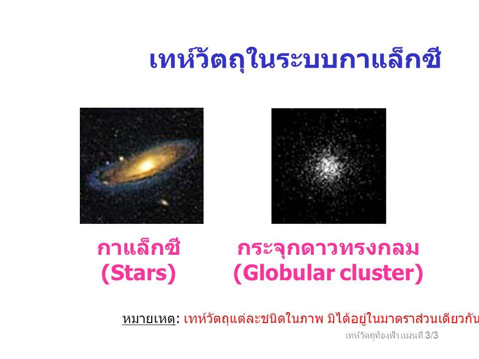 เทห์วัตถุท้องฟ้า แผ่นที่ 3/3 เทห์วัตถุในระบบกาแล็กซี กาแล็กซี (Stars) กระจุกดาวทรงกลม (Globular cluster) หมายเหตุ : เทห์วัตถุแต่ละชนิดในภาพ มิได้อยู่ใ
