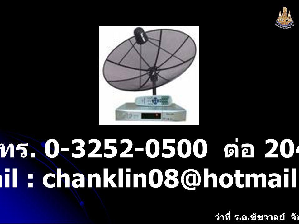 ว่าที่ ร. อ. ชัชวาลย์ จันทร์กลิ่น โทร. 0-3252-0500 ต่อ 204 e-mail : chanklin08@hotmail.com