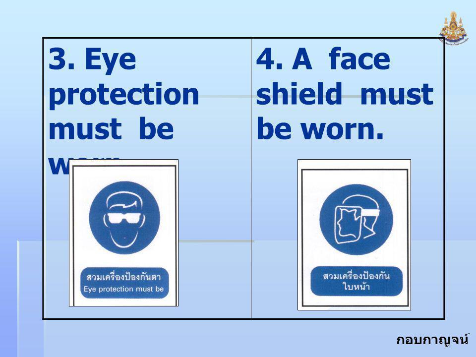 กอบกาญจน์ สุทธิสม 3. Eye protection must be worn 4. A face shield must be worn.