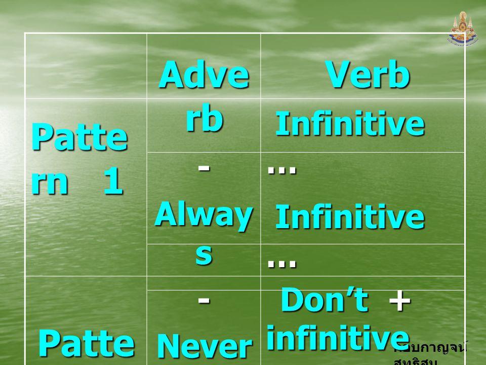 กอบกาญจน์ สุทธิสม Patte rn 1 Adve rb - Alway s Verb Infinitive … Patte rn 2 -Never- Don't + infinitive Infinitive … Avoid + V. - ing …