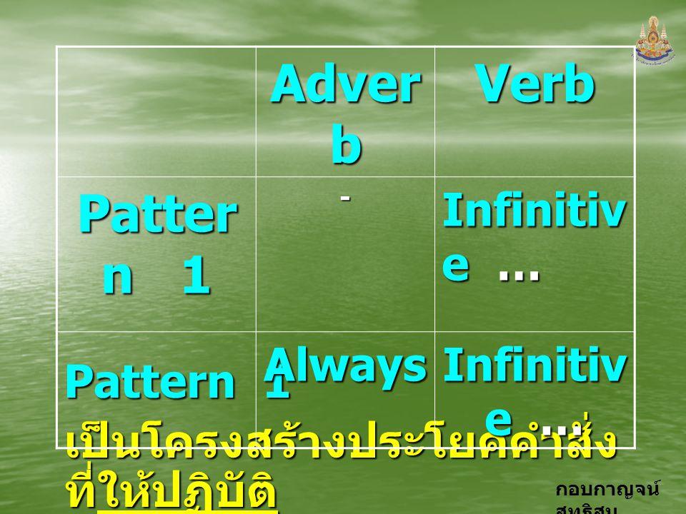กอบกาญจน์ สุทธิสม Pattern 1 เป็นโครงสร้างประโยคคำสั่ง ที่ให้ปฏิบัติ Adver b Verb Patter n 1 - Infinitiv e … Always