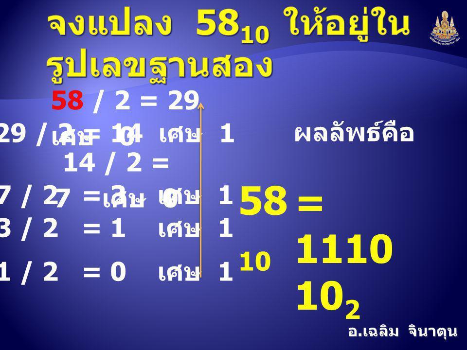 อ. เฉลิม จินาตุน 58 / 2 = 29 เศษ 0 29 / 2 = 14 เศษ 1 14 / 2 = 7 เศษ 0 7 / 2 = 3 เศษ 1 3 / 2 = 1 เศษ 1 1 / 2 = 0 เศษ 1 ผลลัพธ์คือ 58 10 = 1110 10 2