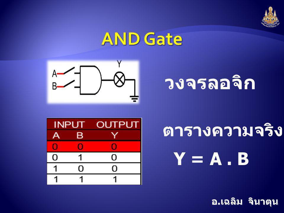 อ. เฉลิม จินาตุน วงจรลอจิก ตารางความจริง Y = A. B