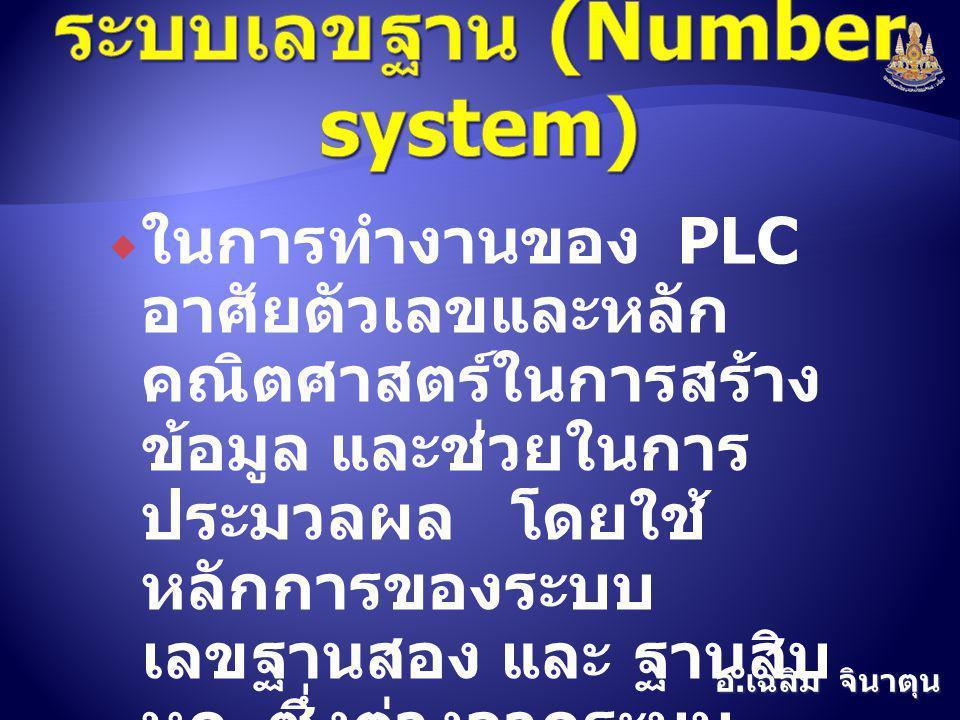 อ. เฉลิม จินาตุน  ในการทำงานของ PLC อาศัยตัวเลขและหลัก คณิตศาสตร์ในการสร้าง ข้อมูล และช่วยในการ ประมวลผล โดยใช้ หลักการของระบบ เลขฐานสอง และ ฐานสิบ ห