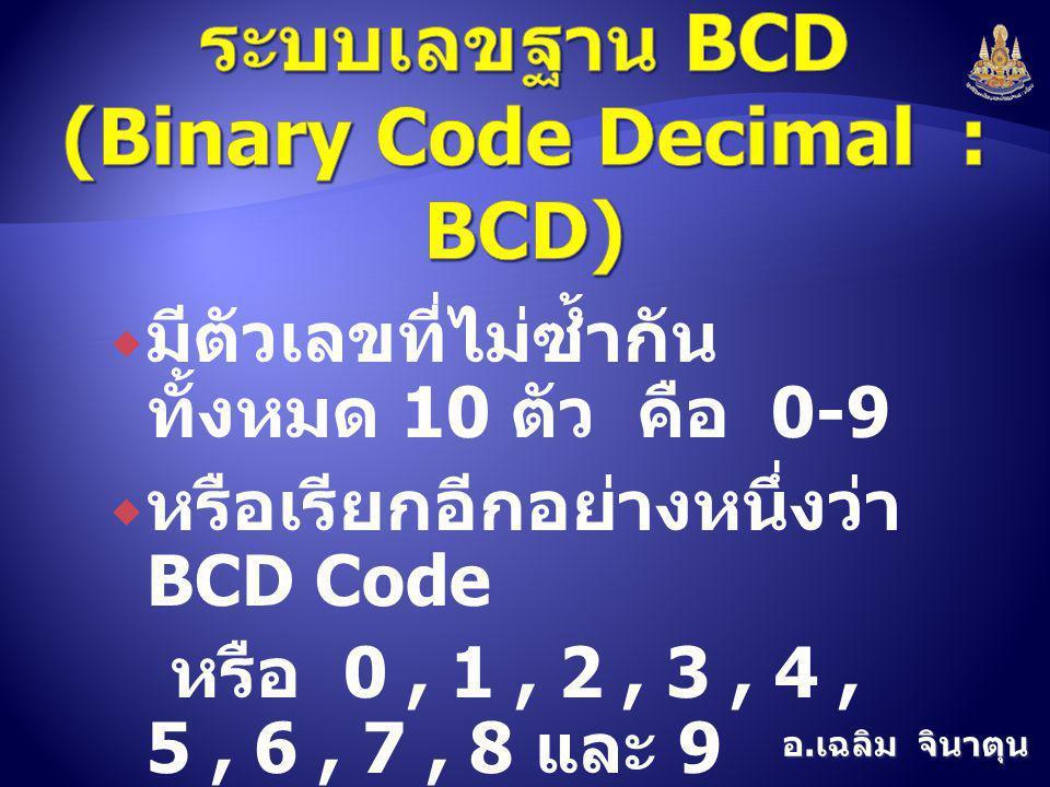 อ. เฉลิม จินาตุน  มีตัวเลขที่ไม่ซ้ำกัน ทั้งหมด 10 ตัว คือ 0-9  หรือเรียกอีกอย่างหนึ่งว่า BCD Code หรือ 0, 1, 2, 3, 4, 5, 6, 7, 8 และ 9