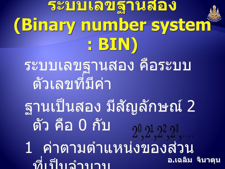 อ. เฉลิม จินาตุน ระบบเลขฐานสอง คือระบบ ตัวเลขที่มีค่า ฐานเป็นสอง มีสัญลักษณ์ 2 ตัว คือ 0 กับ 1 ค่าตามตำแหน่งของส่วน ที่เป็นจำนวน เต็มของเลขฐานสอง คือ