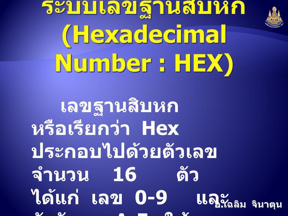 อ. เฉลิม จินาตุน เลขฐานสิบหก หรือเรียกว่า Hex ประกอบไปด้วยตัวเลข จำนวน 16 ตัว ได้แก่ เลข 0-9 และ ตัวอักษร A-F ใช้แทน ตัวเลขอีก 6 ตัวที่เหลือ