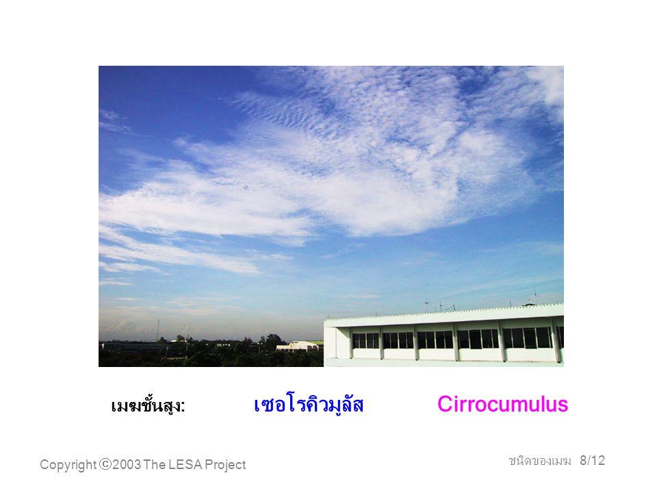 Copyright  2003 The LESA Project ชนิดของเมฆ 9/12 เมฆชั้นสูง: เซอโรสเตรตัส Cirrostratus