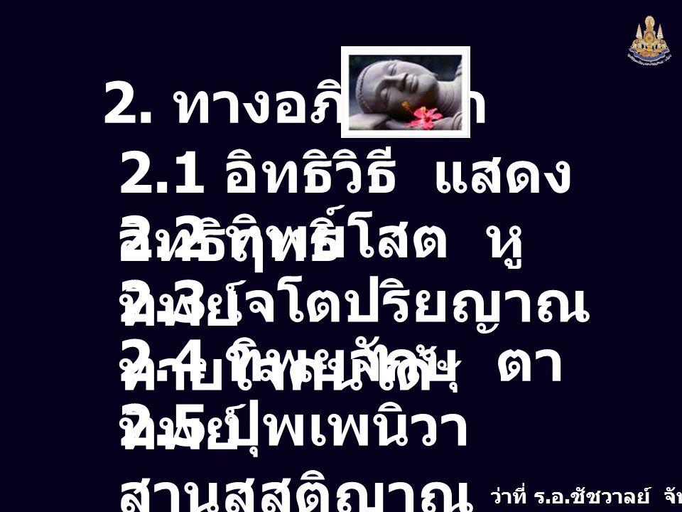 ว่าที่ ร. อ. ชัชวาลย์ จันทร์กลิ่น 2. ทางอภิญญา 2.1 อิทธิวิธี แสดง อิทธิฤทธิ์ 2.2 ทิพยโสต หู ทิพย์ 2.3 เจโตปริยญาณ ทายใจคนได้ 2.4 ทิพยจักษุ ตา ทิพย์ 2.