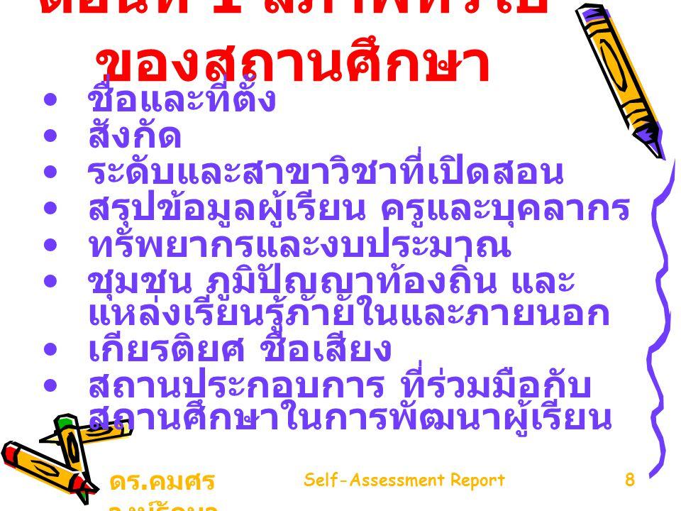 ดร. คมศร วงษ์รักษา Self-Assessment Report8 ตอนที่ 1 สภาพทั่วไป ของสถานศึกษา ชื่อและที่ตั้ง สังกัด ระดับและสาขาวิชาที่เปิดสอน สรุปข้อมูลผู้เรียน ครูและ
