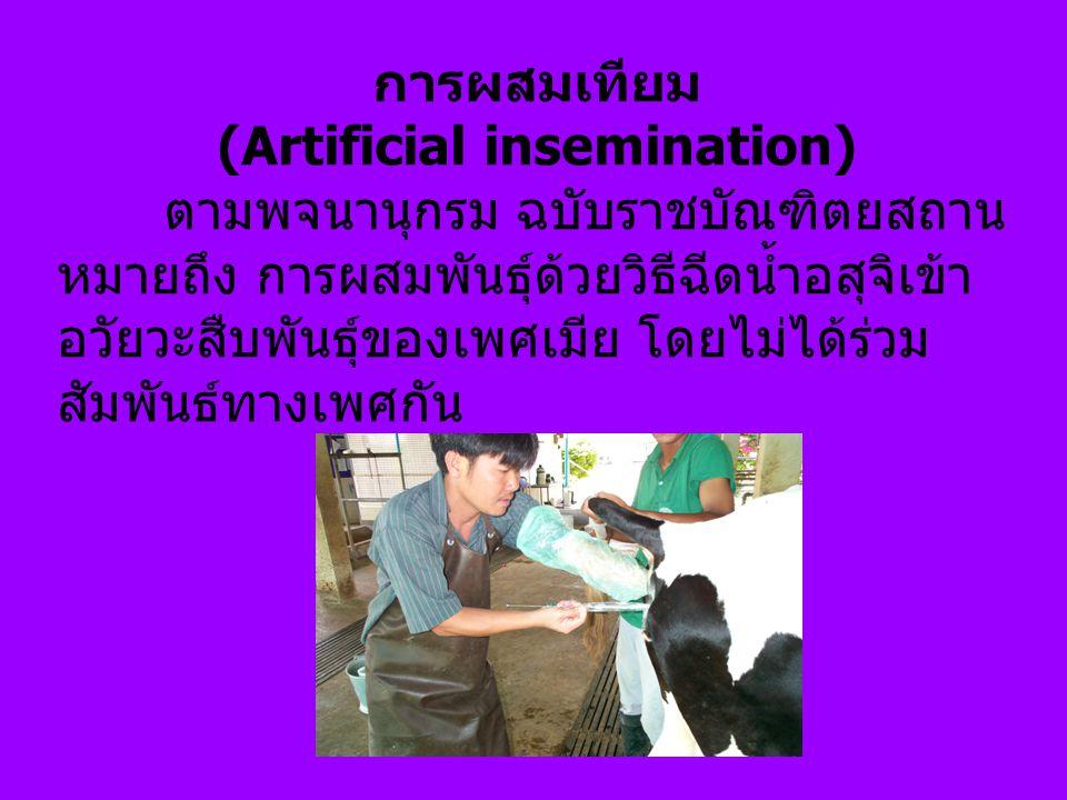 การผสมเทียม (Artificial insemination) ตามพจนานุกรม ฉบับราชบัณฑิตยสถาน หมายถึง การผสมพันธุ์ด้วยวิธีฉีดน้ำอสุจิเข้า อวัยวะสืบพันธุ์ของเพศเมีย โดยไม่ได้ร่วม สัมพันธ์ทางเพศกัน