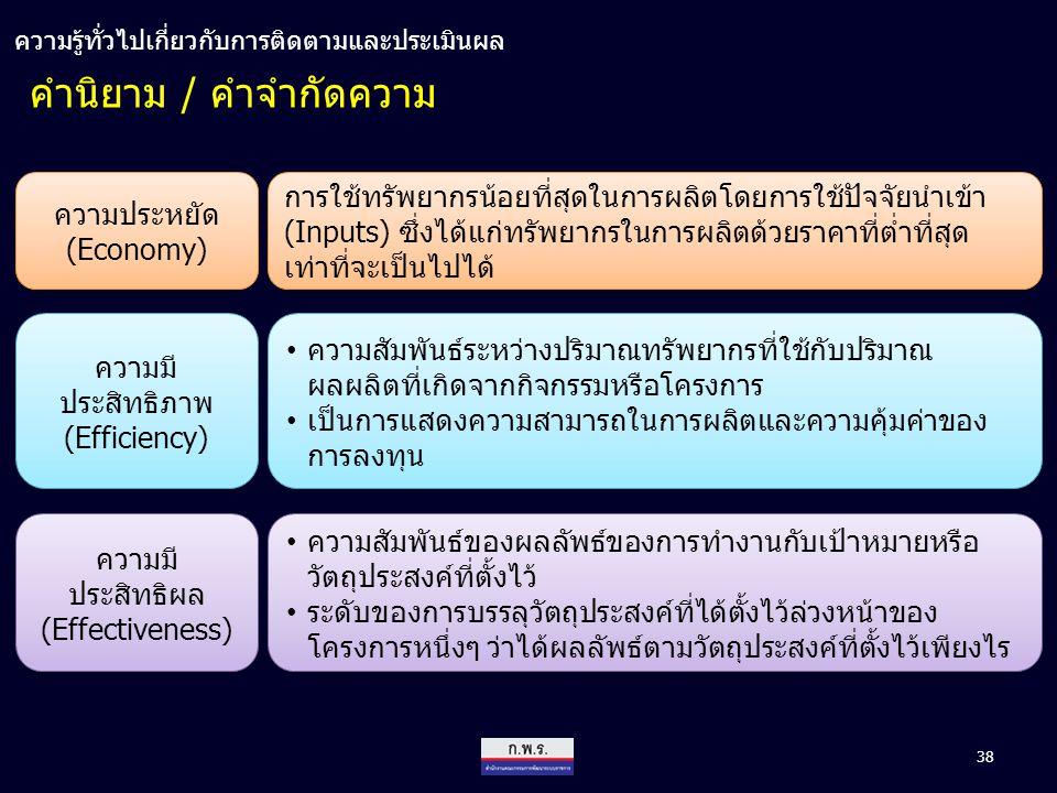 38 คำนิยาม / คำจำกัดความ ความประหยัด (Economy) ความมี ประสิทธิภาพ (Efficiency) ความมี ประสิทธิภาพ (Efficiency) ความมี ประสิทธิผล (Effectiveness) ความม