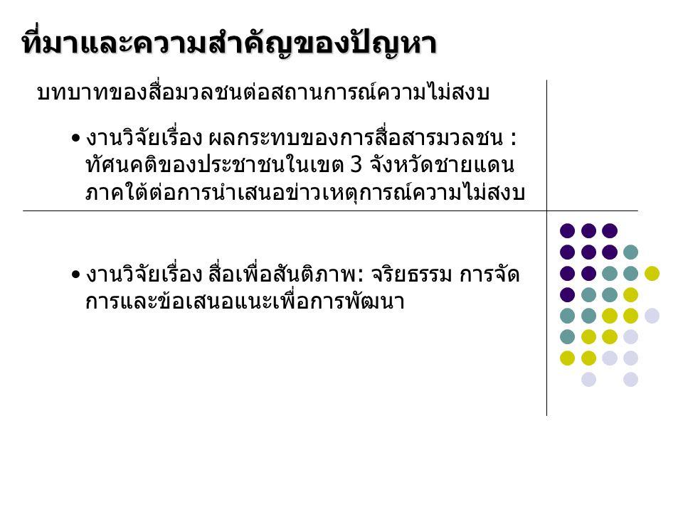ศ.นพ.ประเวศ วะสี (2547) กล่าวว่า สื่อมวลชนไทยไม่มีความเข้าใจเหตุการณ์ในจังหวัด ชายแดนภาคใต้และมีทัศนคติแบบสื่อมวลชนตะวัน ตก มองเหตุการณ์ชายแดนใต้เชื่อมโยงกับการก่อ การร้ายในภูมิภาคตามกรอบคิดของสื่อมวลชนตะ วันตก สถานการณ์ดังกล่าวเป็นเสมือนการทับถมความ ทุกข์ยากของชาติพันธุ์มลายู ทำให้ชาวมุสลิมตก เป็นจำเลยของสังคมมากขึ้น สื่อมวลชนไทยควรหันมาทบทวน ตรวจสอบตนเอง เพื่อสนับสนุนความปรองดองของชาติ