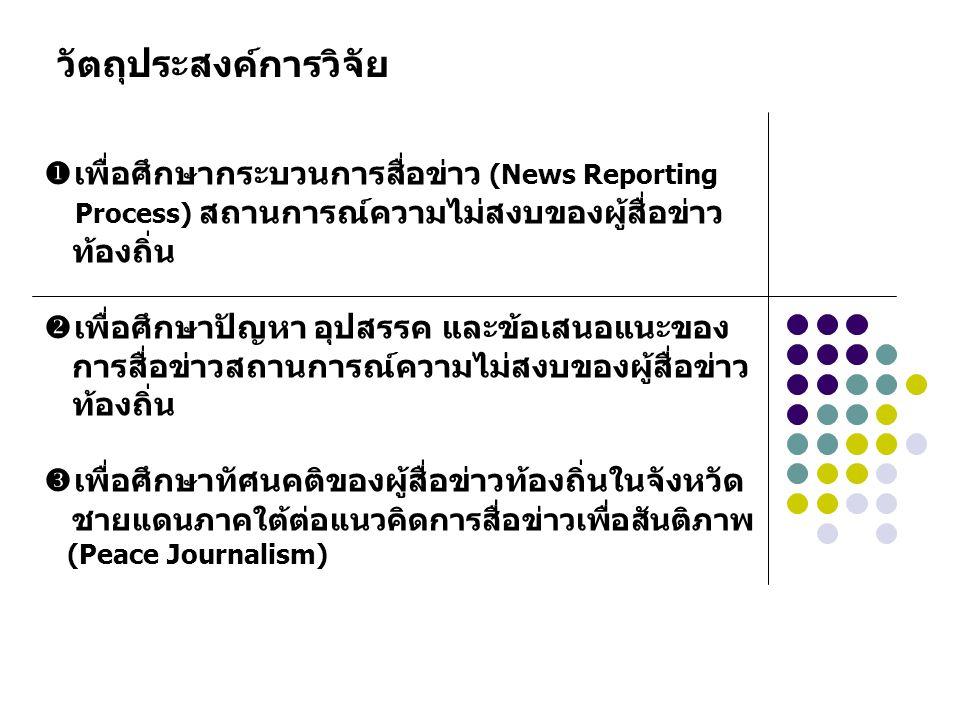 ระเบียบวิธีวิจัย กลุ่มตัวอย่าง ผู้สื่อข่าวท้องถิ่นในจังหวัดชายแดนภาคใต้ จังหวัดละ 4 คน รวมทั้งสิ้น 12 คน โดยเลือกแบบเจาะจง (Purposive Sampling) มีเกณฑ์การเลือกกลุ่มตัวอย่าง คือ ทำงานข่าวในจังหวัด ชายแดนภาคใต้ไม่ต่ำกว่า 5 ปี การเก็บข้อมูลวิจัย วิธีการเก็บข้อมูล คือ การสัมภาษณ์เชิงลึก (In-depth Interview) เครื่องมือเก็บข้อมูล คือ แบบสัมภาษณ์เชิงลึกแบบกึ่งมีโครงสร้าง (Semi-Structured Interview Form)