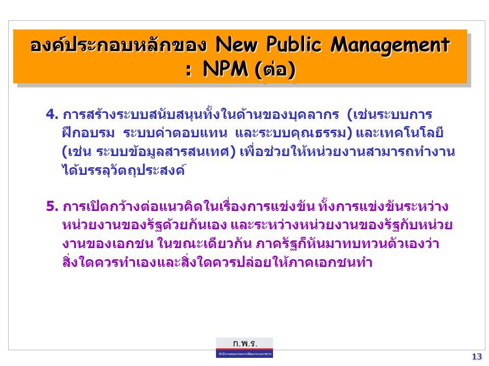 13 13 องค์ประกอบหลักของ New Public Management : NPM (ต่อ) องค์ประกอบหลักของ New Public Management : NPM (ต่อ) 4. การสร้างระบบสนับสนุนทั้งในด้านของบุคล
