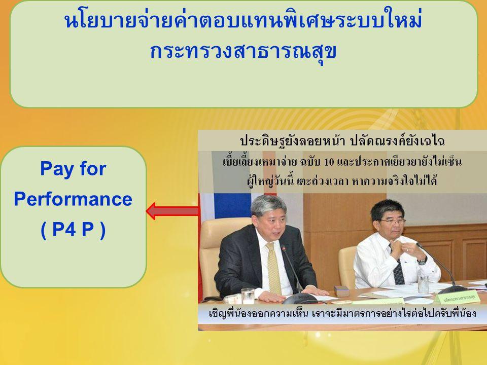 นโยบายจ่ายค่าตอบแทนพิเศษระบบใหม่ กระทรวงสาธารณสุข Pay for Performance ( P4 P )
