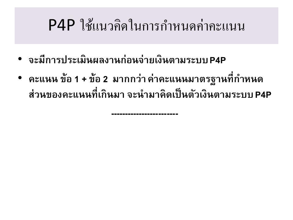 จะมีการประเมินผลงานก่อนจ่ายเงินตามระบบ P4P คะแนน ข้อ 1 + ข้อ 2 มากกว่า ค่าคะแนนมาตรฐานที่กำหนด ส่วนของคะแนนที่เกินมา จะนำมาคิดเป็นตัวเงินตามระบบ P4P -