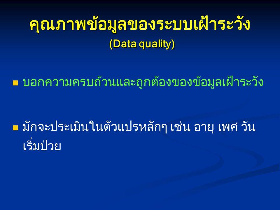 คุณภาพข้อมูล (Data quality) คุณภาพข้อมูลของระบบเฝ้าระวัง (Data quality) บอกความครบถ้วนและถูกต้องของข้อมูลเฝ้าระวัง มักจะประเมินในตัวแปรหลักๆ เช่น อายุ
