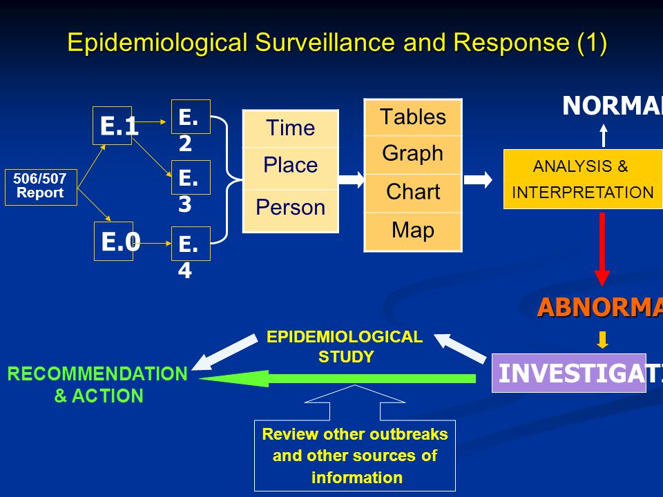 Epidemiological Surveillance and Response (1) Time Place Person Tables Graph Chart Map 506/507 Report E.1 E.0 E. 2 E. 3 E. 4 ANALYSIS & INTERPRETATION