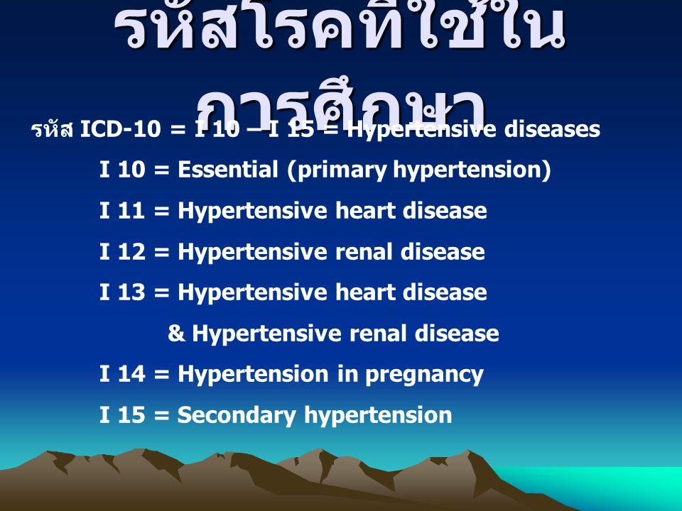 รหัสโรคที่ใช้ใน การศึกษา รหัส ICD-10 = I 10 – I 15 = Hypertensive diseases I 10 = Essential (primary hypertension) I 11 = Hypertensive heart disease I