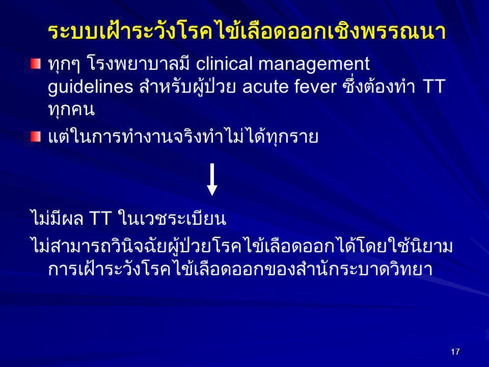 17ระบบเฝ้าระวังโรคไข้เลือดออกเชิงพรรณนา ทุกๆ โรงพยาบาลมี clinical management guidelines สำหรับผู้ป่วย acute fever ซึ่งต้องทำ TT ทุกคน แต่ในการทำงานจริ
