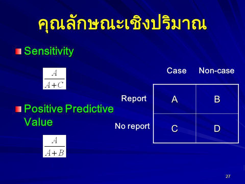 27 คุณลักษณะเชิงปริมาณ Sensitivity Positive Predictive Value AB CD Report No report Case Non-case