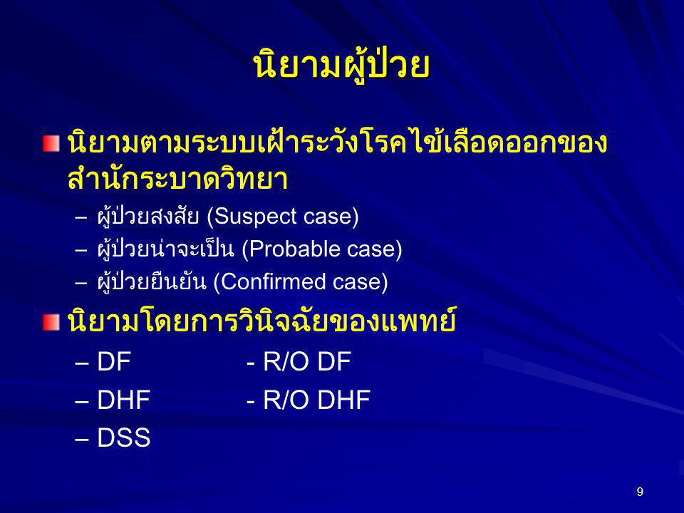 10 BOE surveillance criteria(1) Dengue fever (DF) –Suspect case Acute fever WITH at least 2 signs and symptoms as follows: severe headache, retrobulbar pain, myalgia, arthralgia, rash, any bleeding and tourniquet (TT) +ve –Probable case Suspect case WITH basic lab (CBC) shows WBC≤ 5,000 and lymphocyte predominant OR Suspect case WITH evidence of epidemiological linkage to confirmed case.