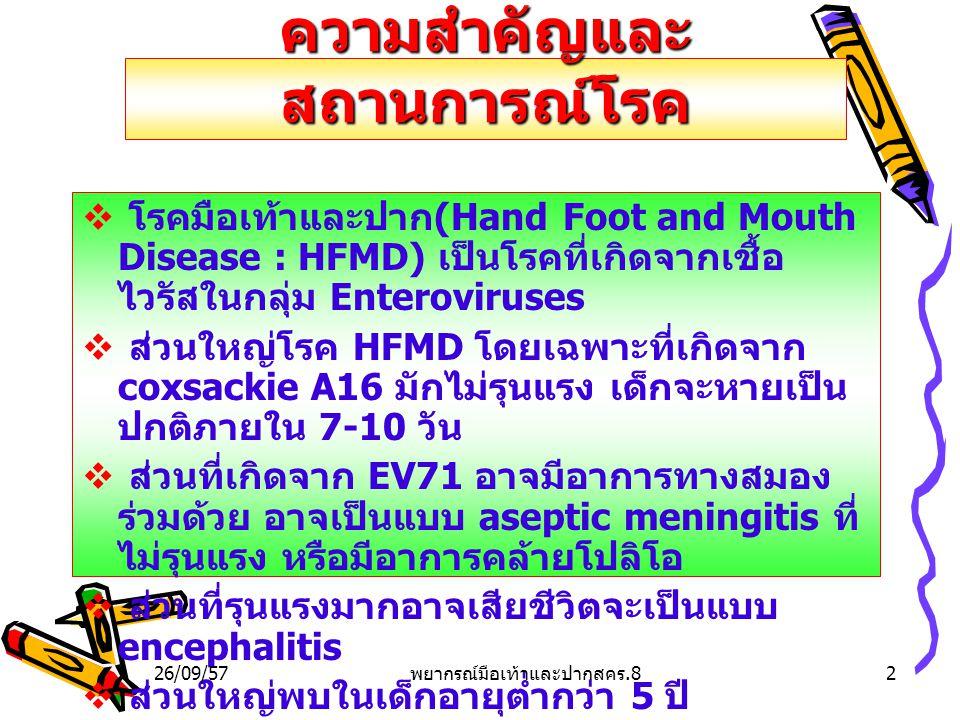 ความสำคัญและ สถานการณ์โรค  โรคมือเท้าและปาก (Hand Foot and Mouth Disease : HFMD) เป็นโรคที่เกิดจากเชื้อ ไวรัสในกลุ่ม Enteroviruses  ส่วนใหญ่โรค HFMD